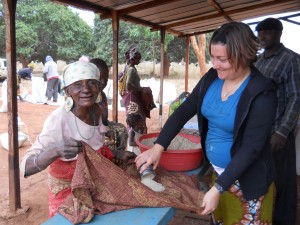 Melissa and one of the oldest widows in the program at the Mango Tree Church give out.